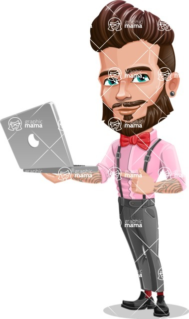 Man with Bow Tie Cartoon Vector Character - Laptop 1