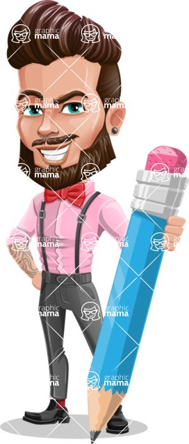 Man with Bow Tie Cartoon Vector Character AKA Jax Bowtie - Pencil
