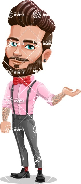 Man with Bow Tie Cartoon Vector Character - Showcase 1