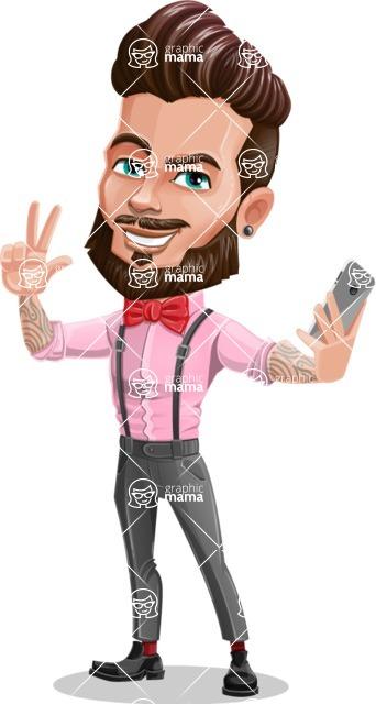 Man with Bow Tie Cartoon Vector Character - Selfie 2