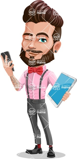 Man with Bow Tie Cartoon Vector Character - Phone and tablet