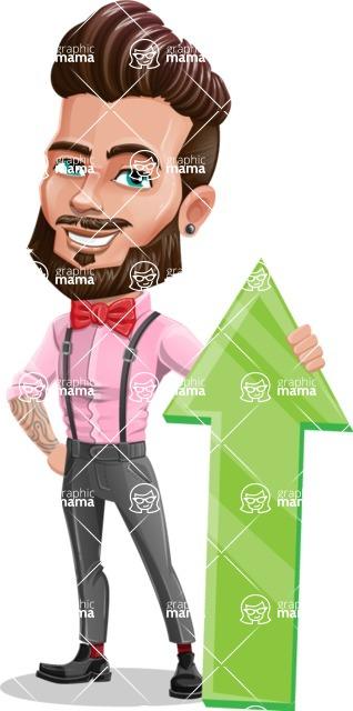 Man with Bow Tie Cartoon Vector Character - Arrow 1