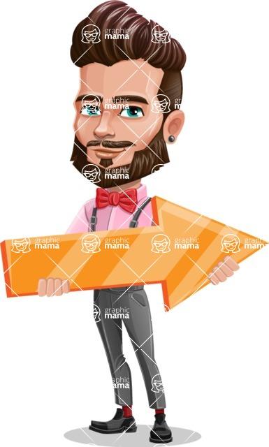 Man with Bow Tie Cartoon Vector Character - Arrow 2