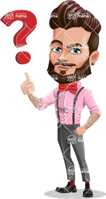 Man with Bow Tie Cartoon Vector Character - Question