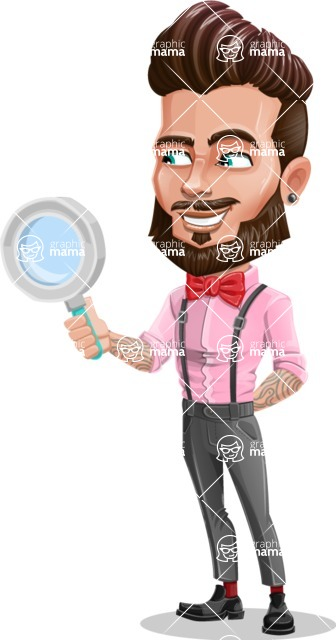 Man with Bow Tie Cartoon Vector Character - Search