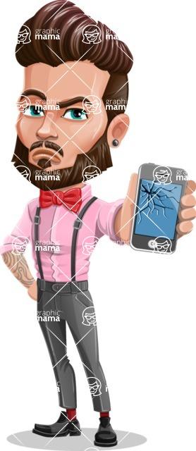 Man with Bow Tie Cartoon Vector Character - Broken