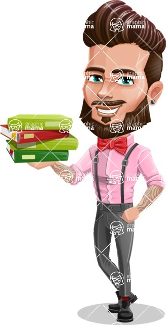 Man with Bow Tie Cartoon Vector Character AKA Jax Bowtie - Book 1