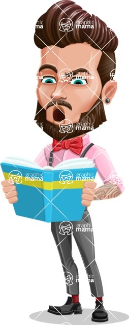 Man with Bow Tie Cartoon Vector Character - Book 2