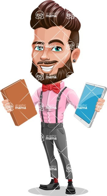 Man with Bow Tie Cartoon Vector Character - Book or Tablet