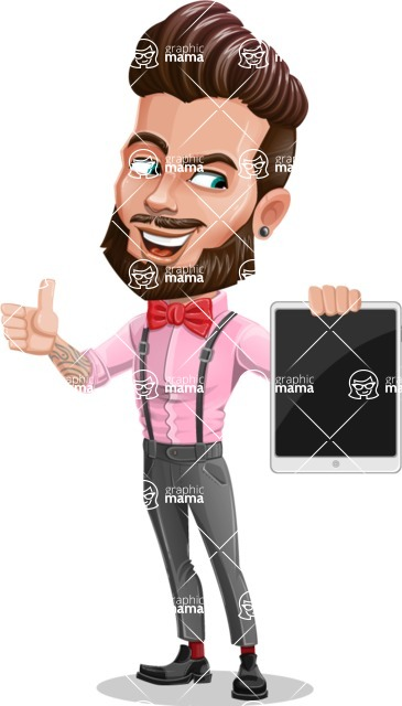 Man with Bow Tie Cartoon Vector Character - Tablet 2