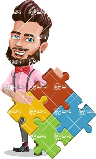 Man with Bow Tie Cartoon Vector Character - Puzzle