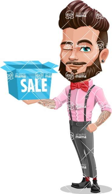 Man with Bow Tie Cartoon Vector Character - Sale 2