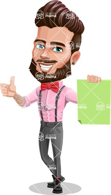 Man with Bow Tie Cartoon Vector Character - Sign 2