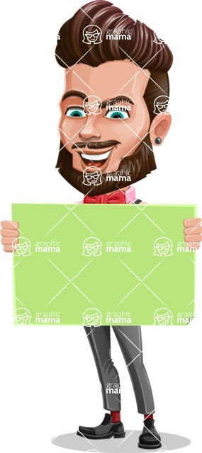 Man with Bow Tie Cartoon Vector Character - Sign 4