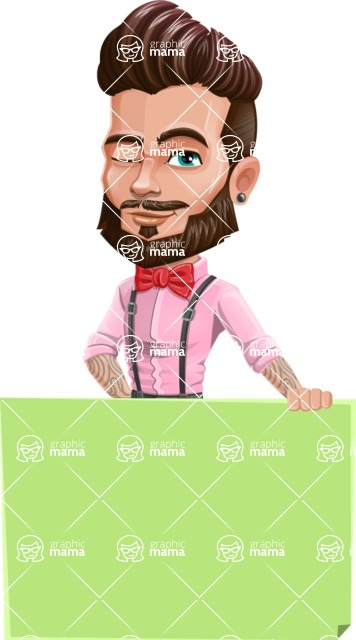 Man with Bow Tie Cartoon Vector Character - Sign 5