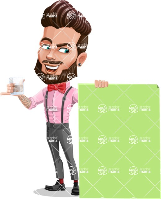 Man with Bow Tie Cartoon Vector Character - Sign 6
