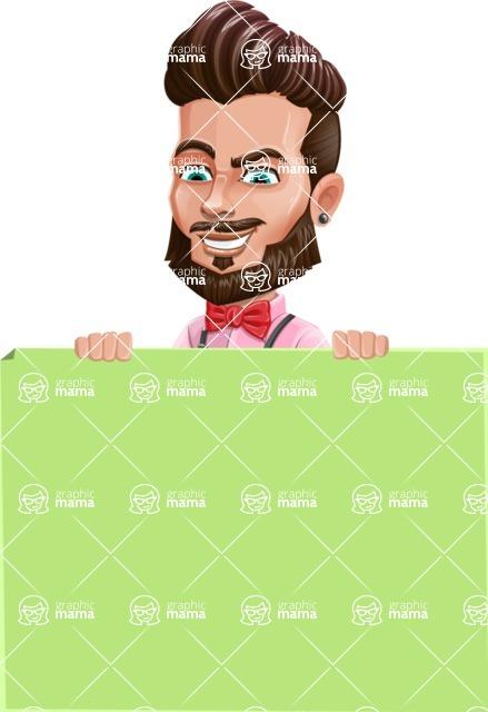 Man with Bow Tie Cartoon Vector Character AKA Jax Bowtie - Sign 7