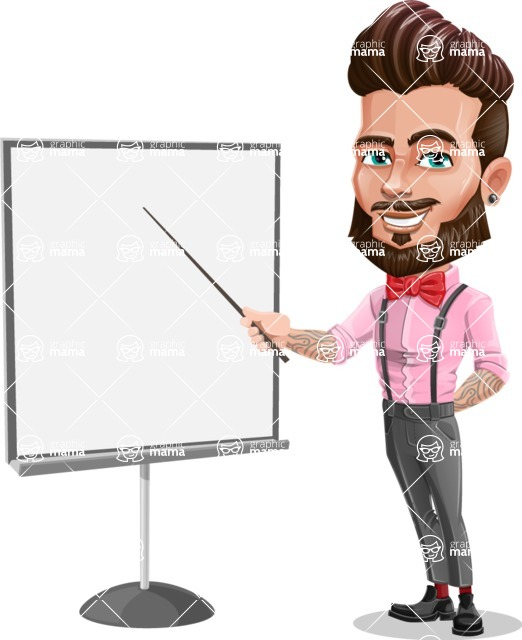 Man with Bow Tie Cartoon Vector Character - Presentation 1