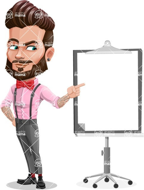 Man with Bow Tie Cartoon Vector Character - Presentation 2