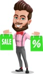 Man with Bow Tie Cartoon Vector Character AKA Jax Bowtie - Sale 1