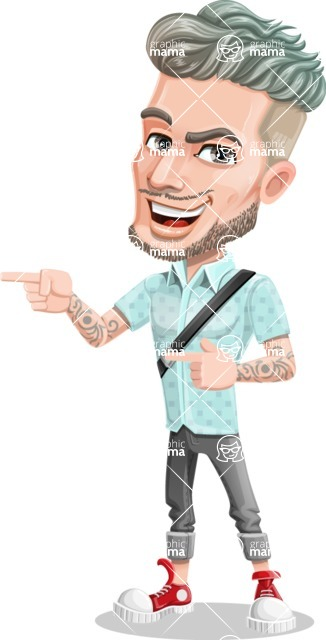 Attractive Man with Tattoos Cartoon Vector Character AKA Kane - Point 2