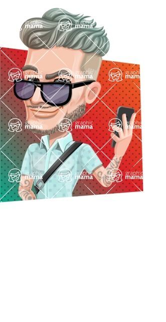 Attractive Man with Tattoos Cartoon Vector Character AKA Kane - Shape 3