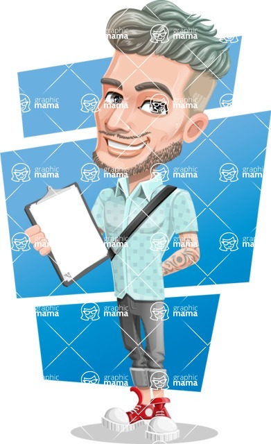 Attractive Man with Tattoos Cartoon Vector Character AKA Kane - Shape 11