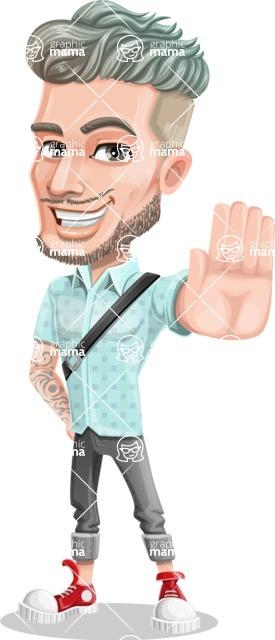 Attractive Man with Tattoos Cartoon Vector Character AKA Kane - Stop 1