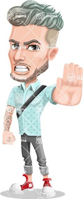 Attractive Man with Tattoos Cartoon Vector Character AKA Kane - Stop 2