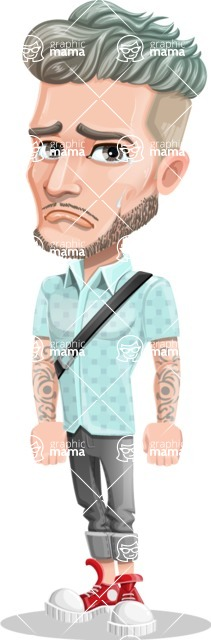Attractive Man with Tattoos Cartoon Vector Character AKA Kane - Sad