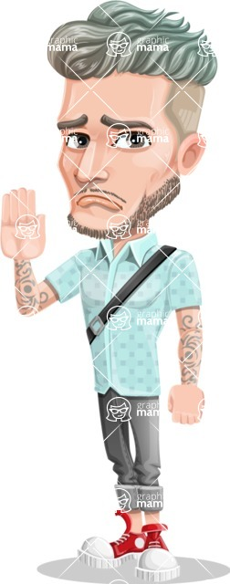 Attractive Man with Tattoos Cartoon Vector Character AKA Kane - GoodBye