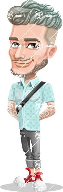 Attractive Man with Tattoos Cartoon Vector Character AKA Kane - Patient