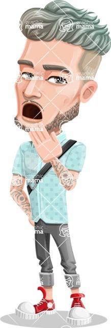 Attractive Man with Tattoos Cartoon Vector Character AKA Kane - Bored 1