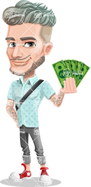 Attractive Man with Tattoos Cartoon Vector Character AKA Kane - Show me the money
