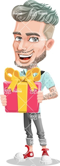 Attractive Man with Tattoos Cartoon Vector Character AKA Kane - Gift
