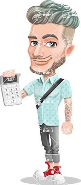 Attractive Man with Tattoos Cartoon Vector Character AKA Kane - Calculator