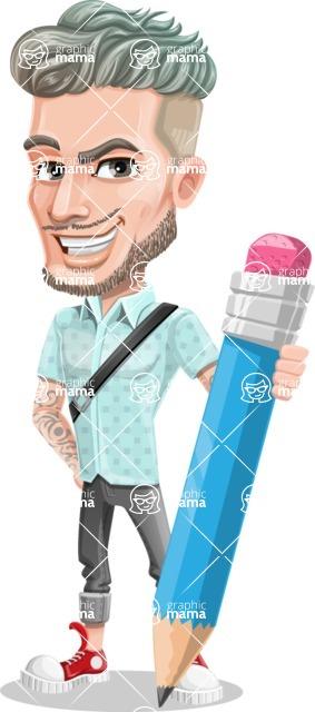 Attractive Man with Tattoos Cartoon Vector Character AKA Kane - Pencil