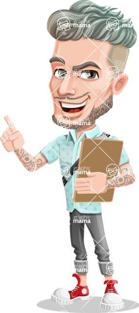 Attractive Man with Tattoos Cartoon Vector Character AKA Kane - Notepad 1