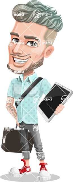 Attractive Man with Tattoos Cartoon Vector Character AKA Kane - Bag and tablet
