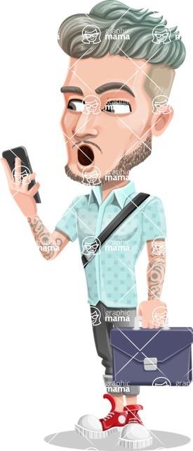 Attractive Man with Tattoos Cartoon Vector Character AKA Kane - Bag and phone