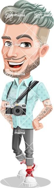 Attractive Man with Tattoos Cartoon Vector Character AKA Kane - Camera