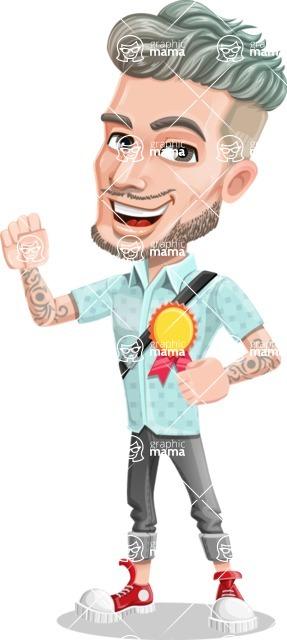 Attractive Man with Tattoos Cartoon Vector Character AKA Kane - Ribbon