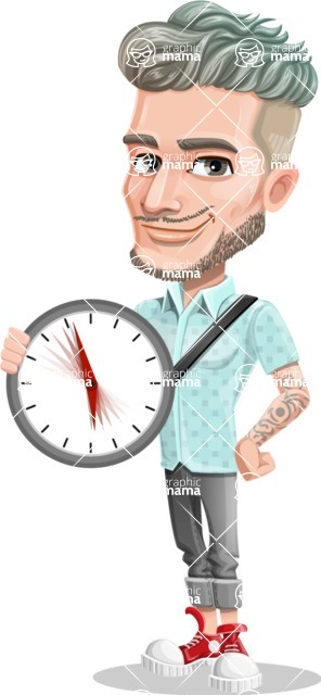 Attractive Man with Tattoos Cartoon Vector Character AKA Kane - Time
