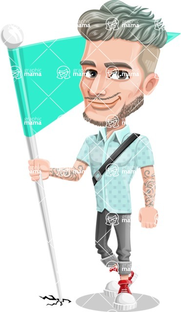 Attractive Man with Tattoos Cartoon Vector Character AKA Kane - Checkpoint