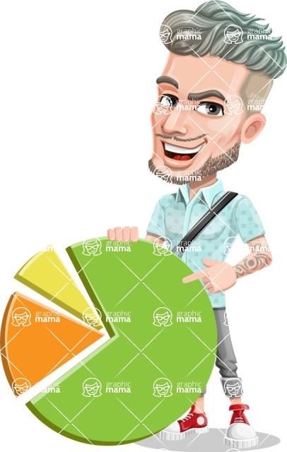 Attractive Man with Tattoos Cartoon Vector Character AKA Kane - Chart