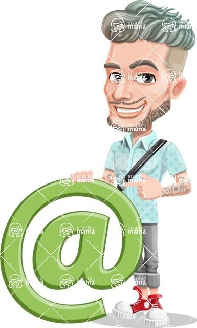Attractive Man with Tattoos Cartoon Vector Character AKA Kane - E-mail