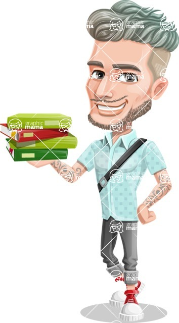 Attractive Man with Tattoos Cartoon Vector Character AKA Kane - Book 1