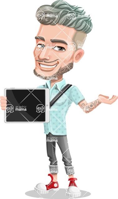 Attractive Man with Tattoos Cartoon Vector Character AKA Kane - Tablet 1