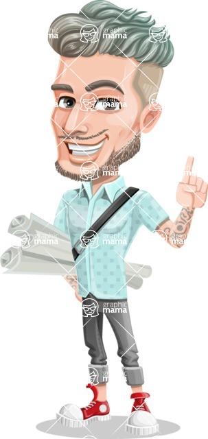 Attractive Man with Tattoos Cartoon Vector Character AKA Kane - Plans
