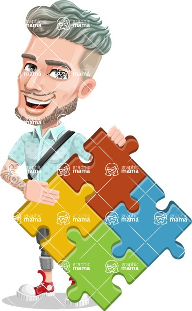 Attractive Man with Tattoos Cartoon Vector Character AKA Kane - Puzzle